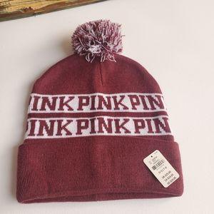 NWT PINK VICTORIA'S SECRET WINE Pompom Beanie